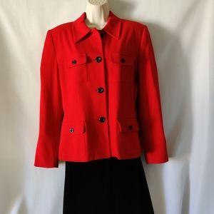 Vintage Kasper Red blazer shoulder pads size 10